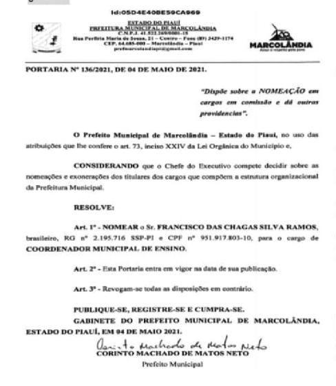 """VEREADOR presidente da Câmara Municipal de Marcolândia, """"Chaguinha Ramos"""", é nomeado coordenador municipal de ensino"""
