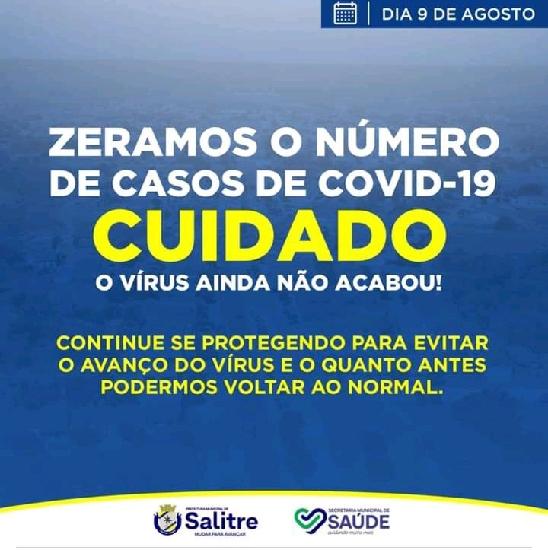 SALITRE com a sua política de bons resultados através da Secretaria de Saúde, fez zerar os números de casos de Covid-19